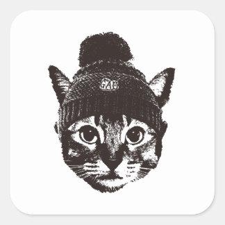 Knitcap cat 正方形シール・ステッカー