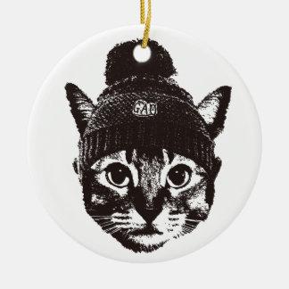 Knitcap cat 陶器製丸型オーナメント