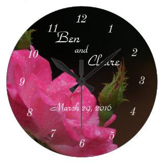 Knockooutのばら色の時計4386 -カスタマイズ ラージ壁時計