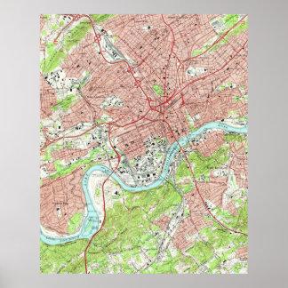 Knoxvilleテネシー州(1966年)のヴィンテージの地図 ポスター