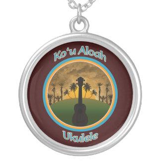 Koの` u Aloahのウクレレのネックレス シルバープレートネックレス
