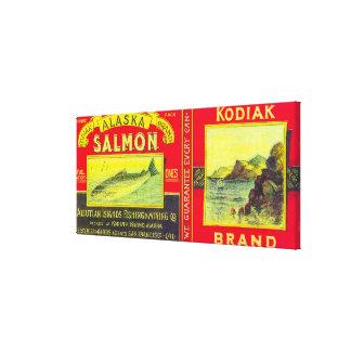 KodiakのサケはLabelKodiakの島、AKできます キャンバスプリント