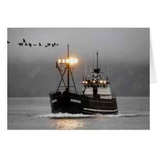 Kodiak、オランダ港、アラスカのカニのボート カード