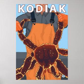 Kodiak、AlaskaAlaskanのタラバガニ ポスター