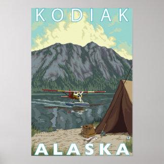 Kodiak、AlaskaBushの平らな魚釣り ポスター
