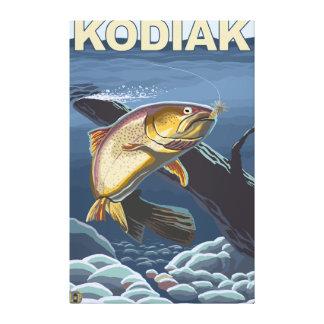 Kodiak、AlaskaCutthroatのマスの横断面 キャンバスプリント