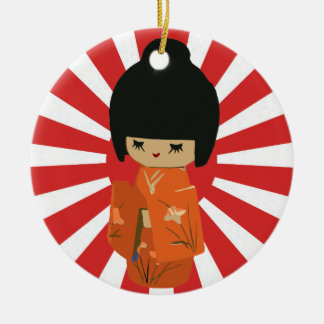 Kokeshiのオレンジカスタマイズ可能な文字の吊り下げ式のオーナメント セラミックオーナメント