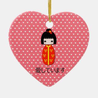 Kokeshiの名前入りな人形、オーナメント セラミックオーナメント