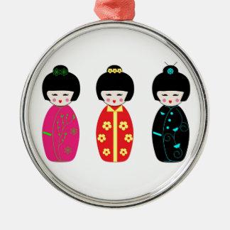 Kokeshiの木の人形-日本様式の人形 メタルオーナメント