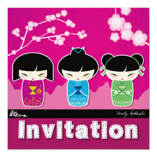 Kokeshiの正方形の招待状 カード