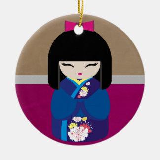 Kokeshiの美しい東洋の人形 セラミックオーナメント