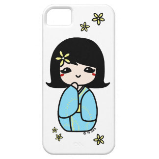 Kokeshiの電話箱(青か黄色) iPhone SE/5/5s ケース