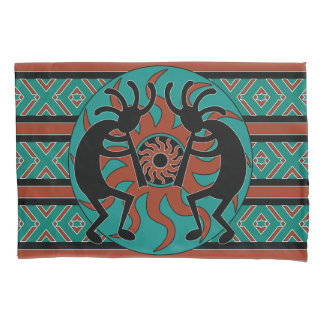 Kokopelli Southwest Design Turquoise 枕カバー