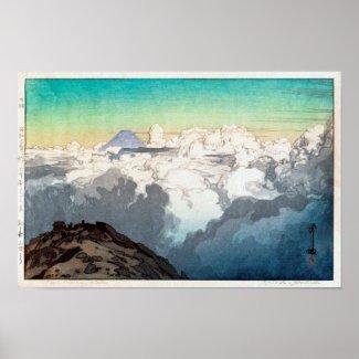 Komagatakeの駒ヶ岳山頂のピーク、ひろし吉田の木版画 ポスター