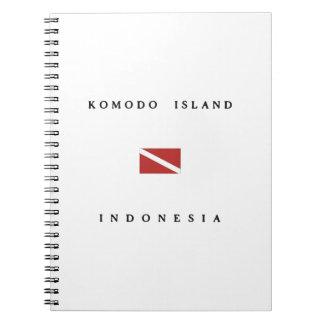 Komodoの島のインドネシアのスキューバ飛び込みの旗 ノートブック