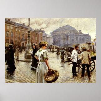 Kongens Nytorv、コペンハーゲンの眺め ポスター