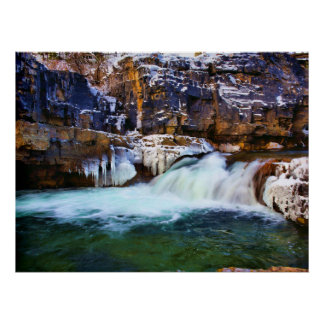 Kootenaiの川の滝 ポスター