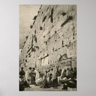 Kotelの西部の泣き叫ぶ壁のBuraqエルサレムのヴィンテージ ポスター