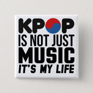 Kpopは私の生命音楽スローガンのグラフィックです 5.1cm 正方形バッジ