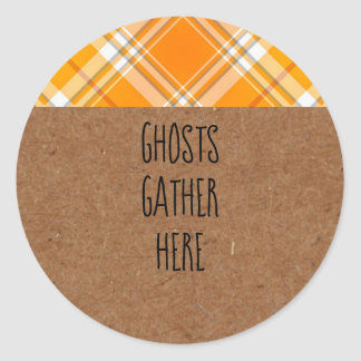 Kraft Ghosts Gather Here Halloween Party Stickers ラウンドシール