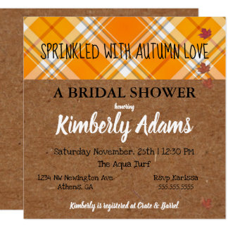 Kraft Sprinkle With Autumn Love Party Invitation カード