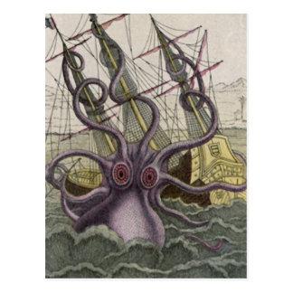 KrakenかタコEatting海賊船、色 ポストカード