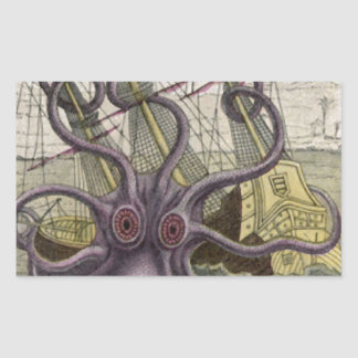 KrakenかタコEatting海賊船、色 長方形シール