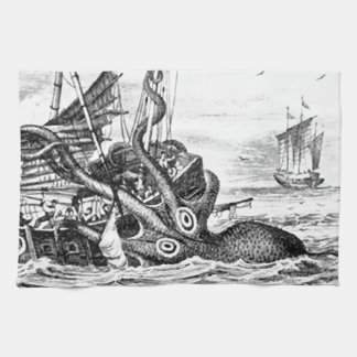 KrakenかタコEatting海賊船、黒または白 ハンドタオル