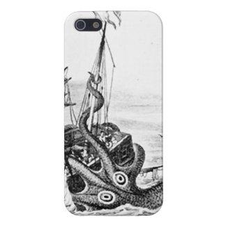 KrakenかタコEatting海賊船、黒または白 iPhone 5 Case
