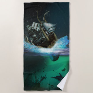 Krakenの攻撃のビーチタオル ビーチタオル