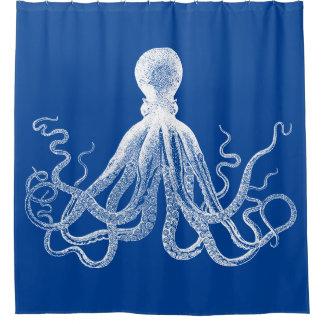 Krakenの濃紺のタコ シャワーカーテン