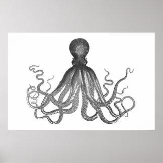 Kraken -黒く巨大なタコ/Cthulu ポスター