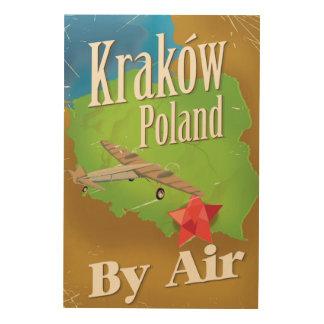 Krakówポーランドのヴィンテージ飛行旅行ポスター ウッドウォールアート