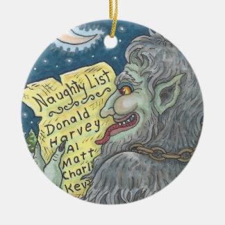 KRAMPUSのいけないリストのクリスマスのオーナメントはカスタマイズ セラミックオーナメント