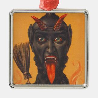 Krampusのほうきの地獄の火 メタルオーナメント