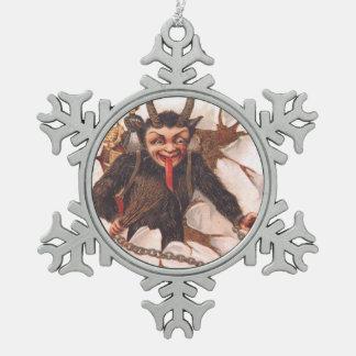 Krampusの誘拐の女性 スノーフレークピューターオーナメント