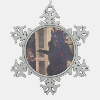 Krampusの誘拐の子供 スノーフレークピューターオーナメント