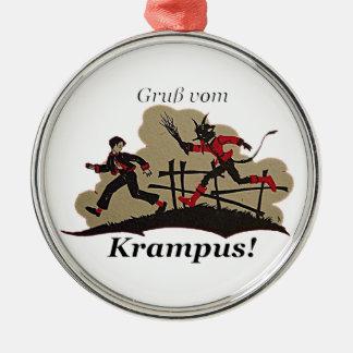 Krampusは子供を追跡します メタルオーナメント