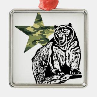 Krisアランの灰色グマのカムフラージュ シルバーカラー正方形オーナメント