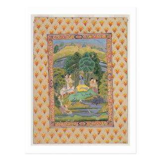 KrishnaおよびGopis (紙のグワッシュ) ポストカード