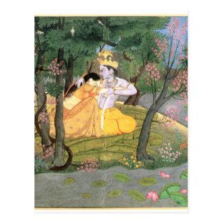 KrishnaおよびRadha ポストカード