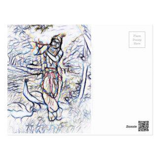 Krishna景色美しいの主 ポストカード