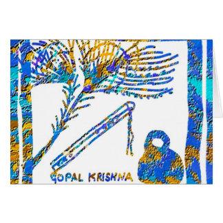 Krishna -フルート、孔雀の羽nのバターミルク ノートカード
