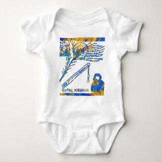 Krishna -フルート、孔雀の羽nのバターミルク ベビーボディスーツ