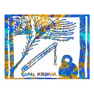 Krishna -フルート、孔雀の羽nのバターミルク ポストカード