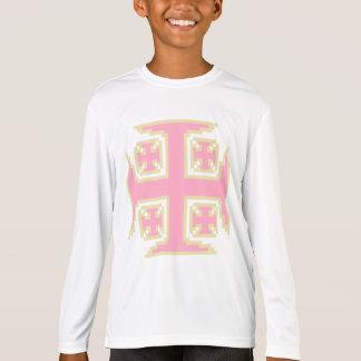 Kross™のピンクの女の子のスポーツTekのLongsleeveのティー Tシャツ