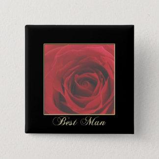 KRWのエレガントな赤いバラの花婿介添人Pin 5.1cm 正方形バッジ