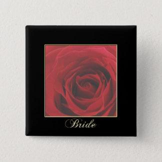 KRWのエレガントな赤いバラの花嫁Pin 5.1cm 正方形バッジ