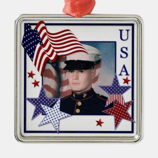 KRWのカスタムな写真愛国心が強い米国の旗のオーナメント メタルオーナメント