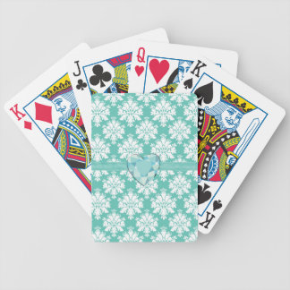 KRWのカード好意を遊ぶ青い宝石のハートの誕生日 バイスクルトランプ